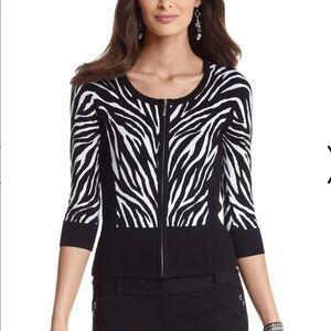 WHBM Zebra Zip Front Cardigan—L
